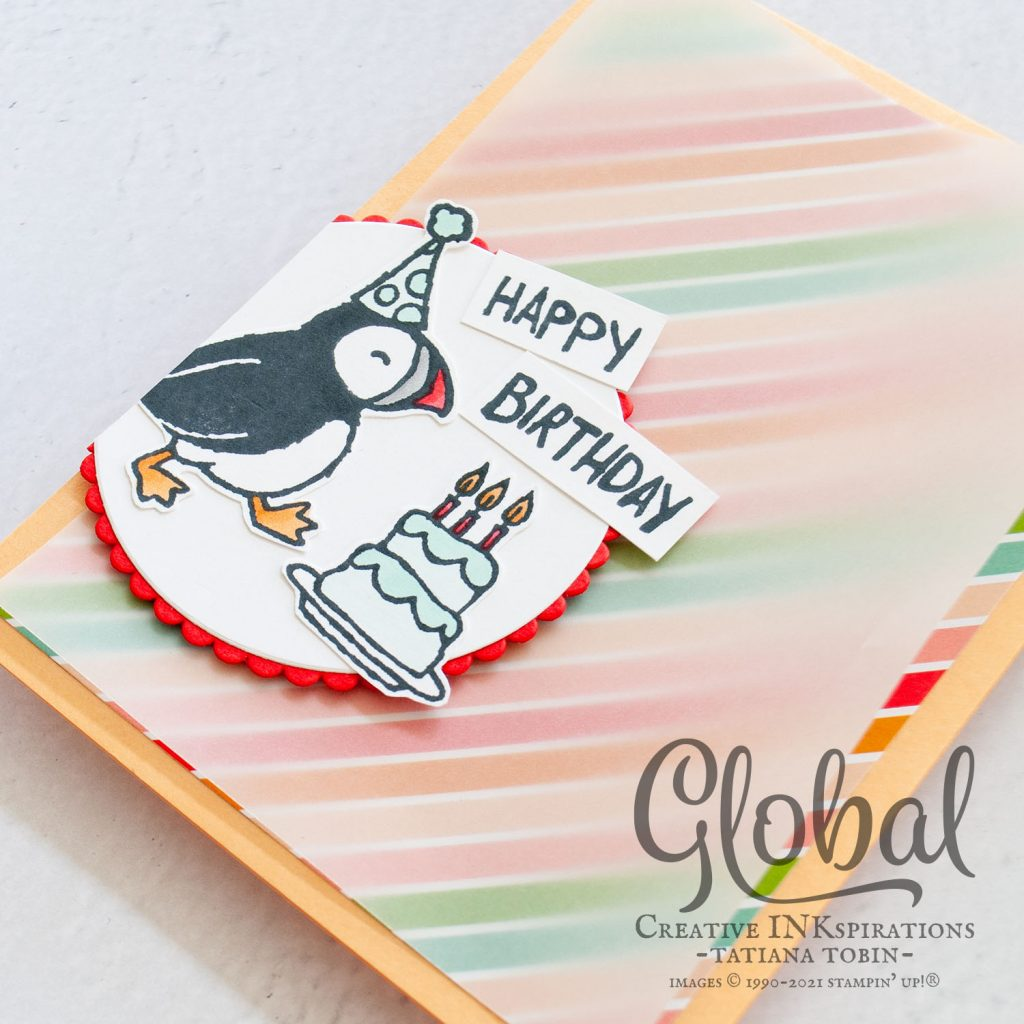 Tatiana Creative Stamping Adventure 2021 Artisan Design Team Member - Party Puffins Birthday Card with Pattern Party DSP both from Stampin' Up!®