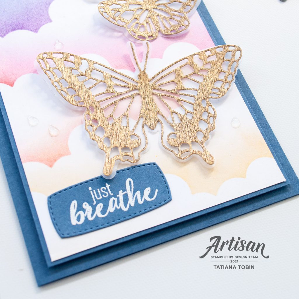 Tatiana Creative Stamping Adventure - 2021 Artisan Design Team Tips & Tricks - How to create a sunset cloud background using Basic Border Dies and Blending Brushes both from Stampin' Up!®