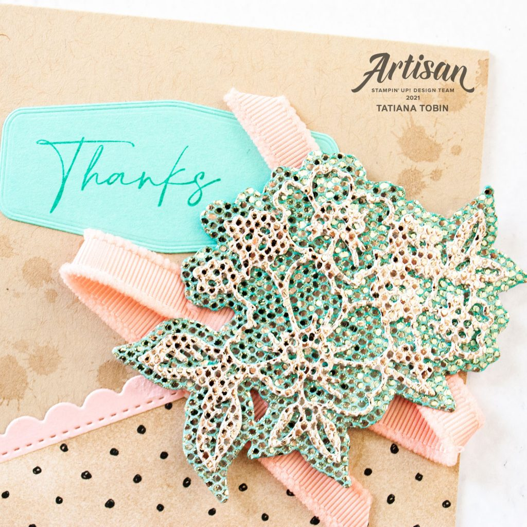 Tatiana Creative Stamping Adventure 2021 Artisan Design Team Member - Thanks Card featuring August to September 2021 Sale-A-Bration items Be Dazzling Specialty Paper, Beautifully Penned DSP, and Textures & Frames stamp set all from Stampin' Up!®